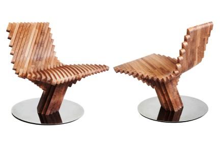 Кресло для отдыха TWIST имеет интересный дизайн.  Структура кресла...  Кресло, сделанное из кусочков дуба...
